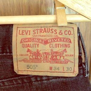 Men's 505 Regular Fit Levi's Black Denim Jeans